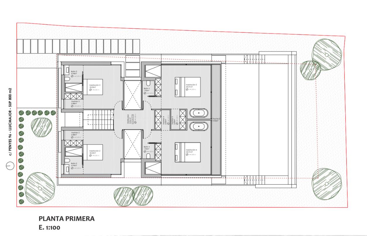 Obergeschoß Bauprojekt Penyes 96 Cala Pi
